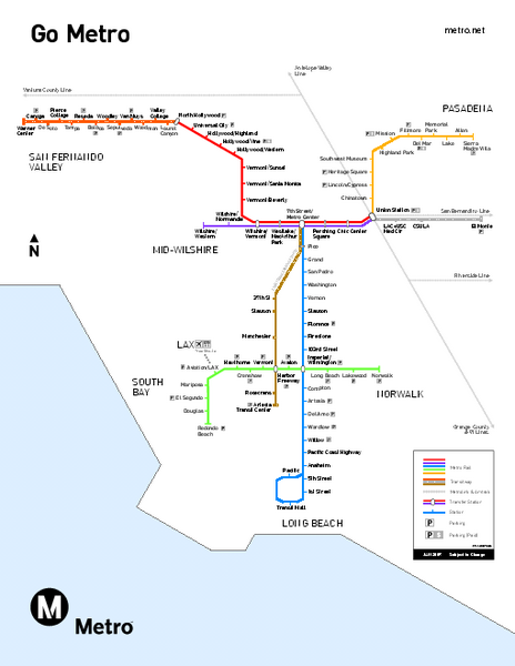 Los Angeles Metro Rail System Map  Los Angeles CA  Mappery