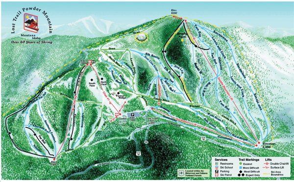 Lost Powder Mountain Ski Trail Map