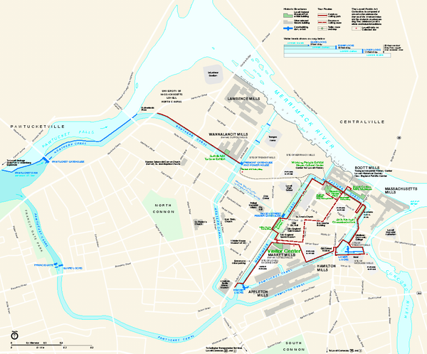 Lowell National Historical Park Official Map