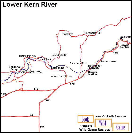 Lower kern river map bakersfield ca mappery for Kern river fishing