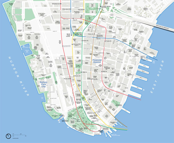 Lower Manhattan Public Transportation Map New York City mappery