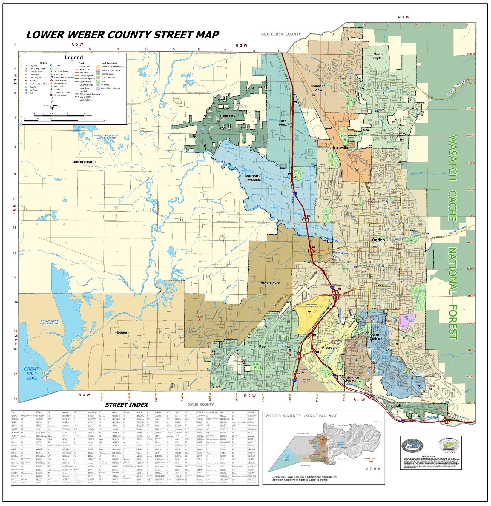 Lower Weber County Street Map  Ogden UT US  Mappery