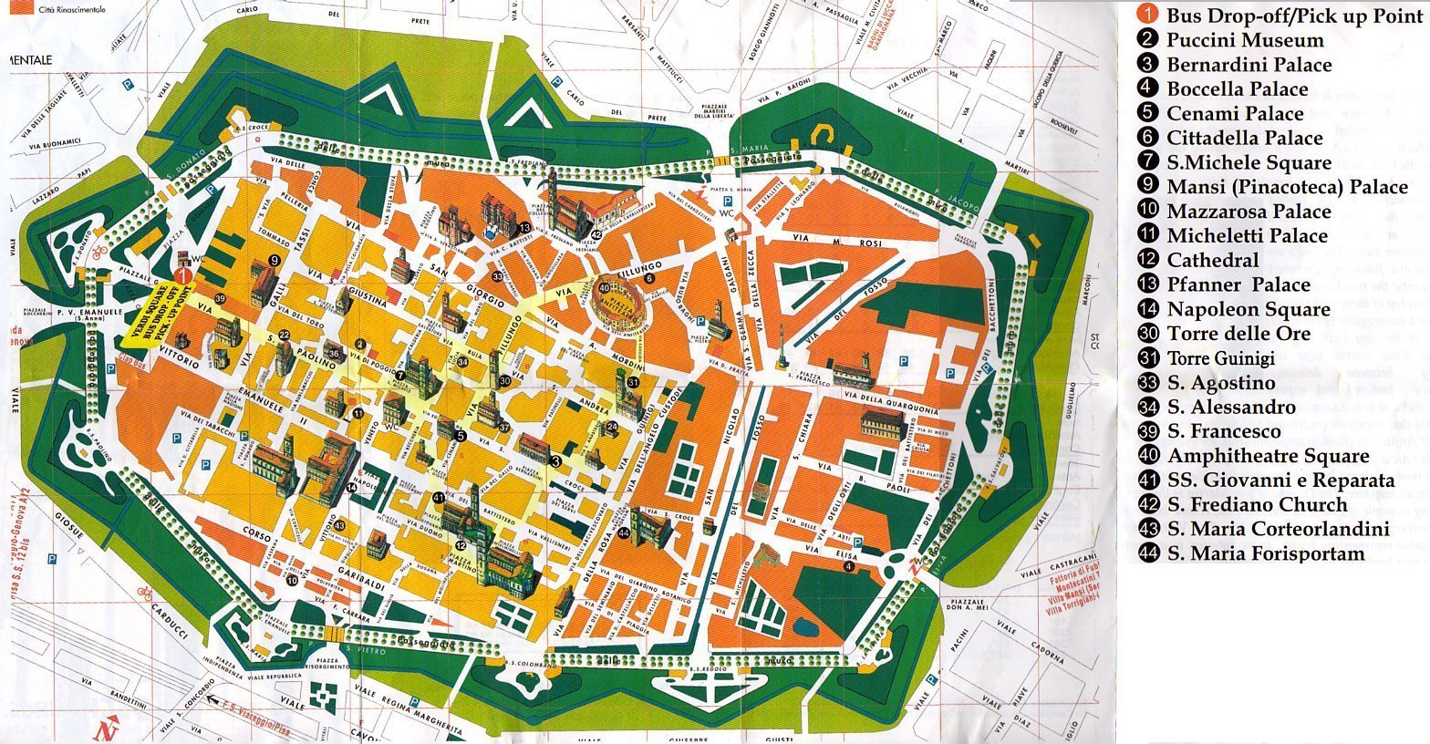Lucca Italy Tourist Map lucca mappery