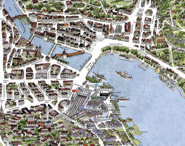 Lucerne Tourist Map Lucerne Switzerland mappery – Tourist Map of Switzerland