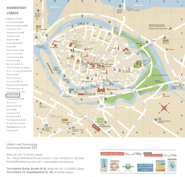 Luebeck Tourist Map Luebeck Germany mappery