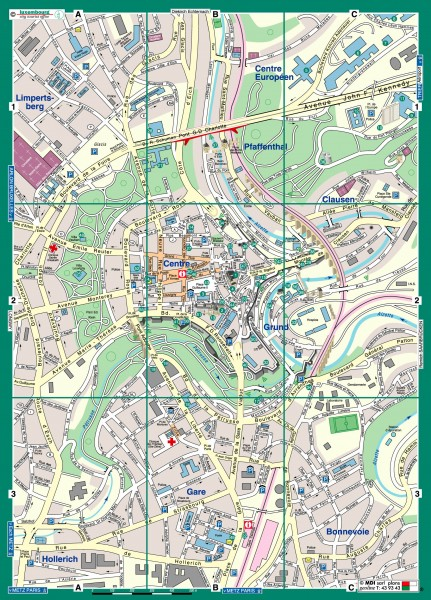 Luxembourg City Street Map