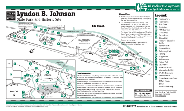 Lyndon B. Johnson State Park Facility and Trail Map