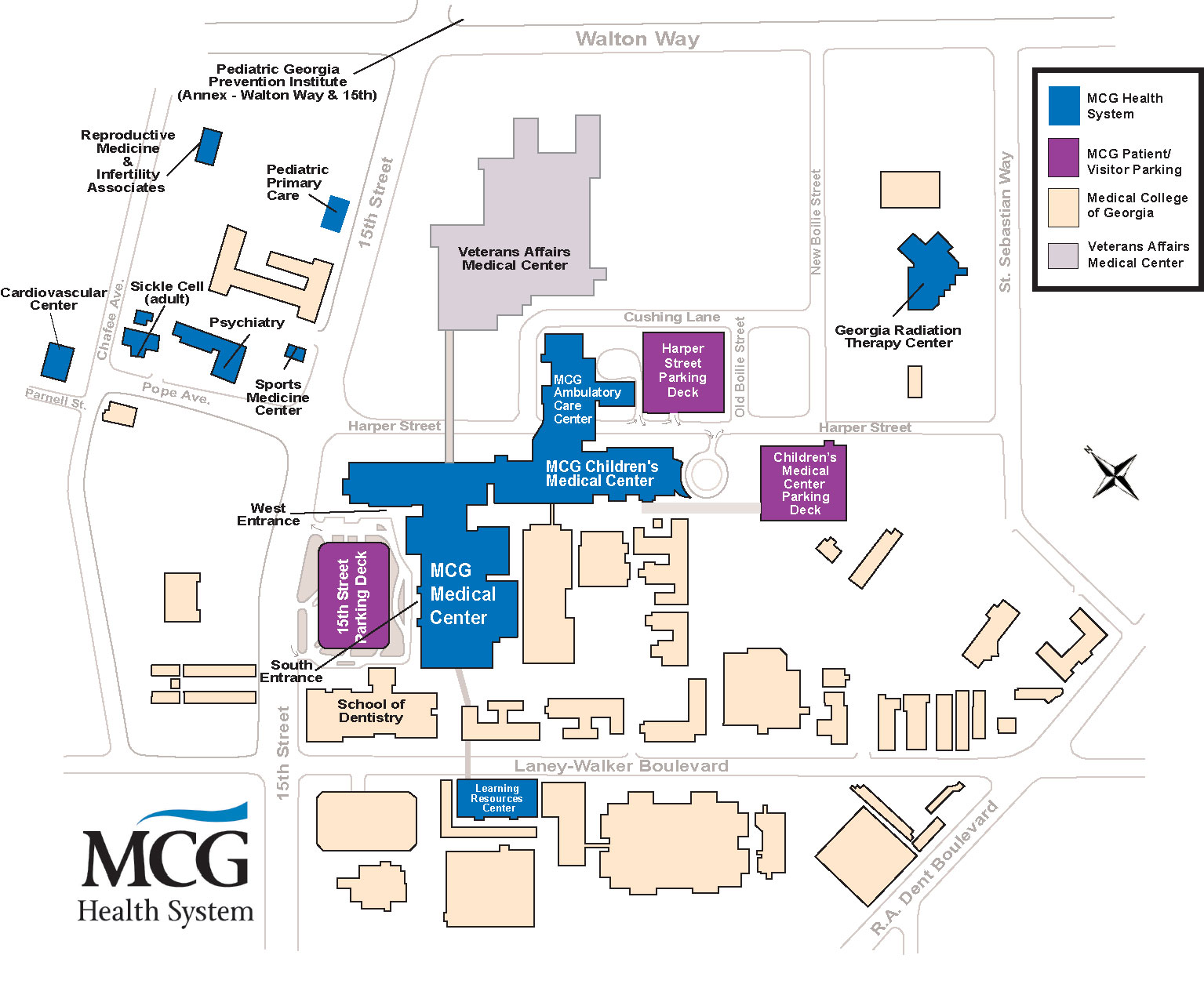 Mcg Health System Medical College Of Georgia Campus Map Augusta