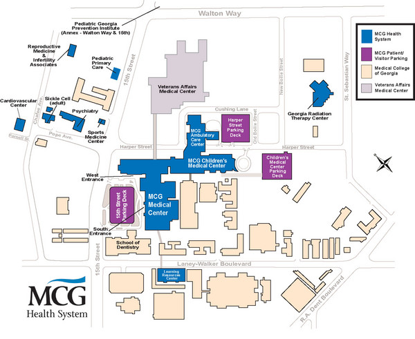 Uga Health Sciences Campus Map.Mcg Health System Medical College Of Georgia Campus Map Augusta
