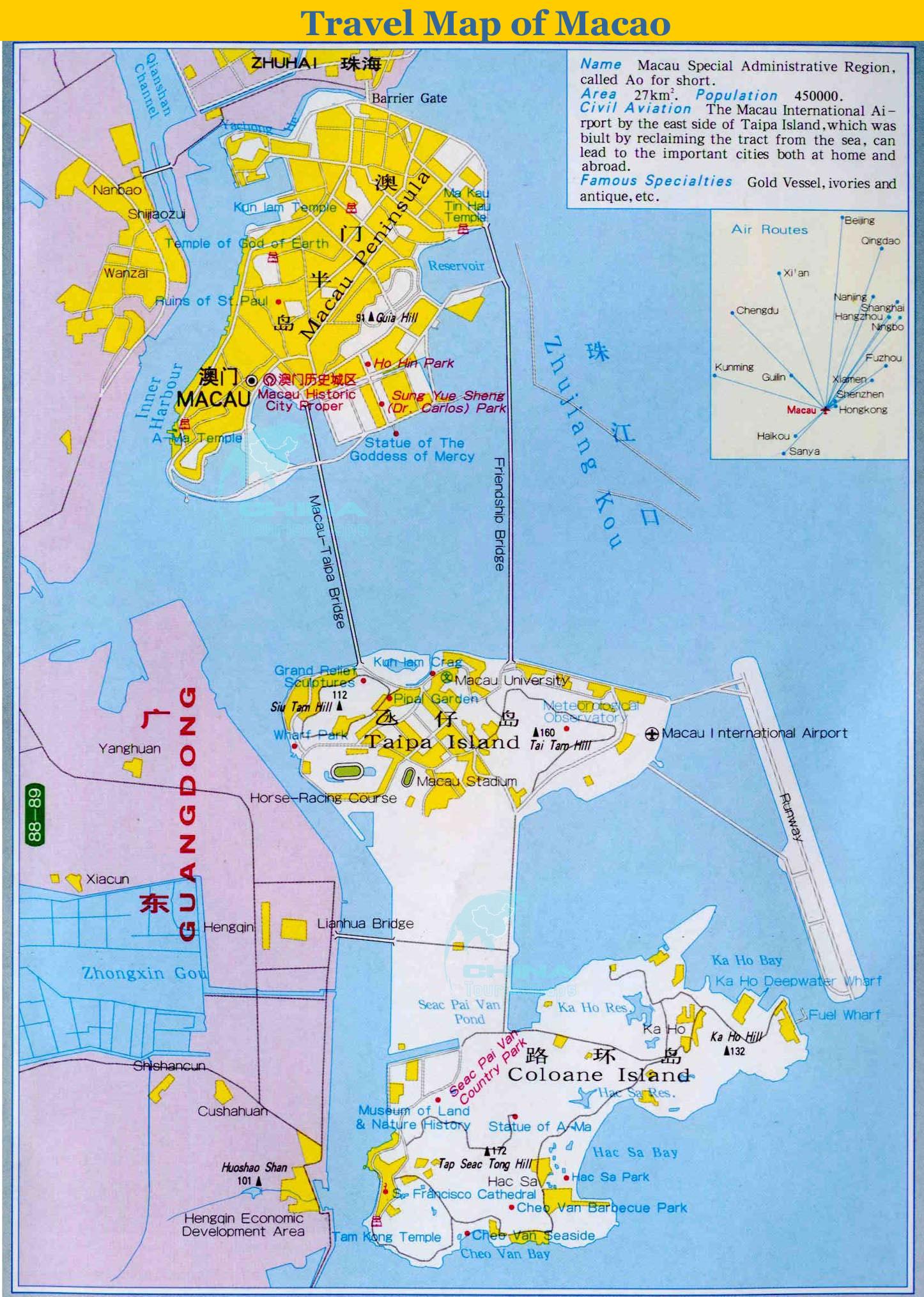 Macao Tourist Map Taipa Island Mappery - Macau map
