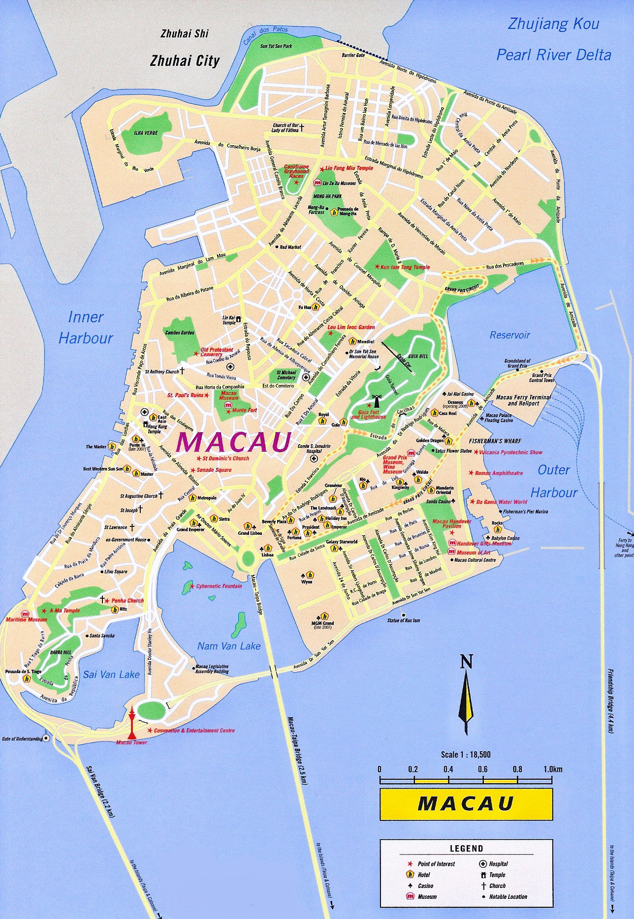 Macau Tourist Map Macau China mappery