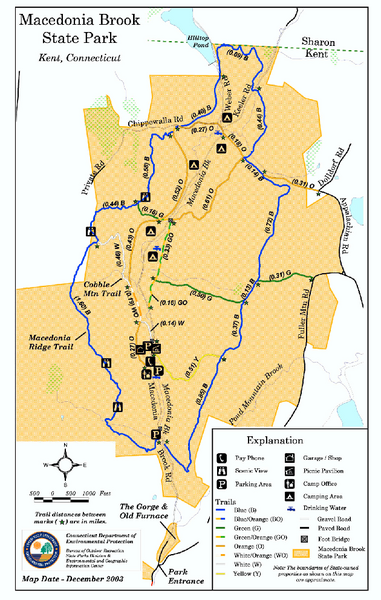 Macedonia Brook State Park trail map
