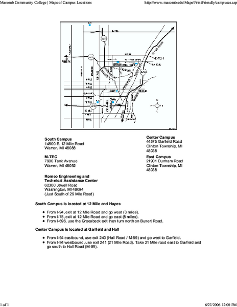 Macomb Community College Campus Map 14500 East Twelve Mile Road