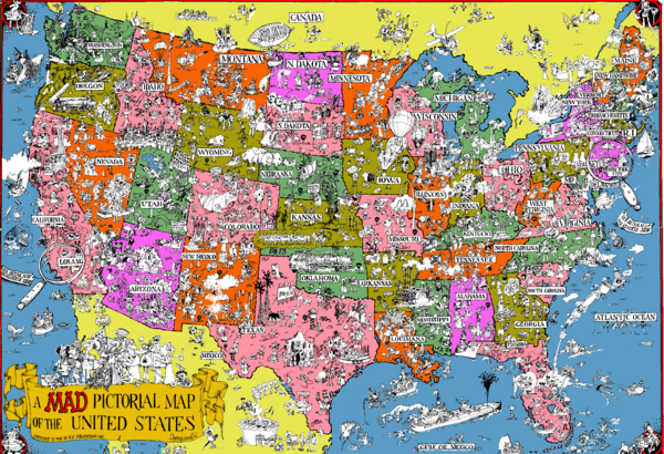 Mad Magazine USA Map United States Mappery - Usa map in detail