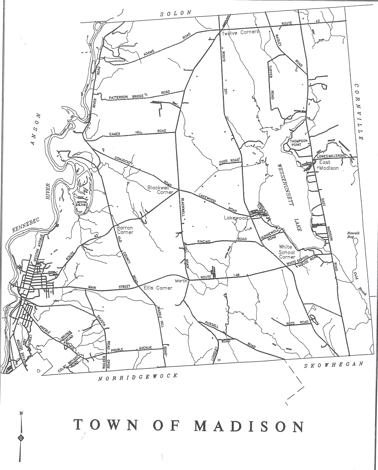 Madison Town Map  Madison ME  Mappery
