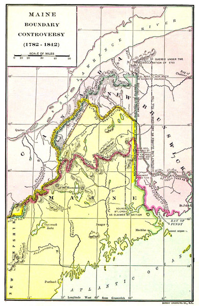 Maine Boundary Controversy 1782-1842 Map
