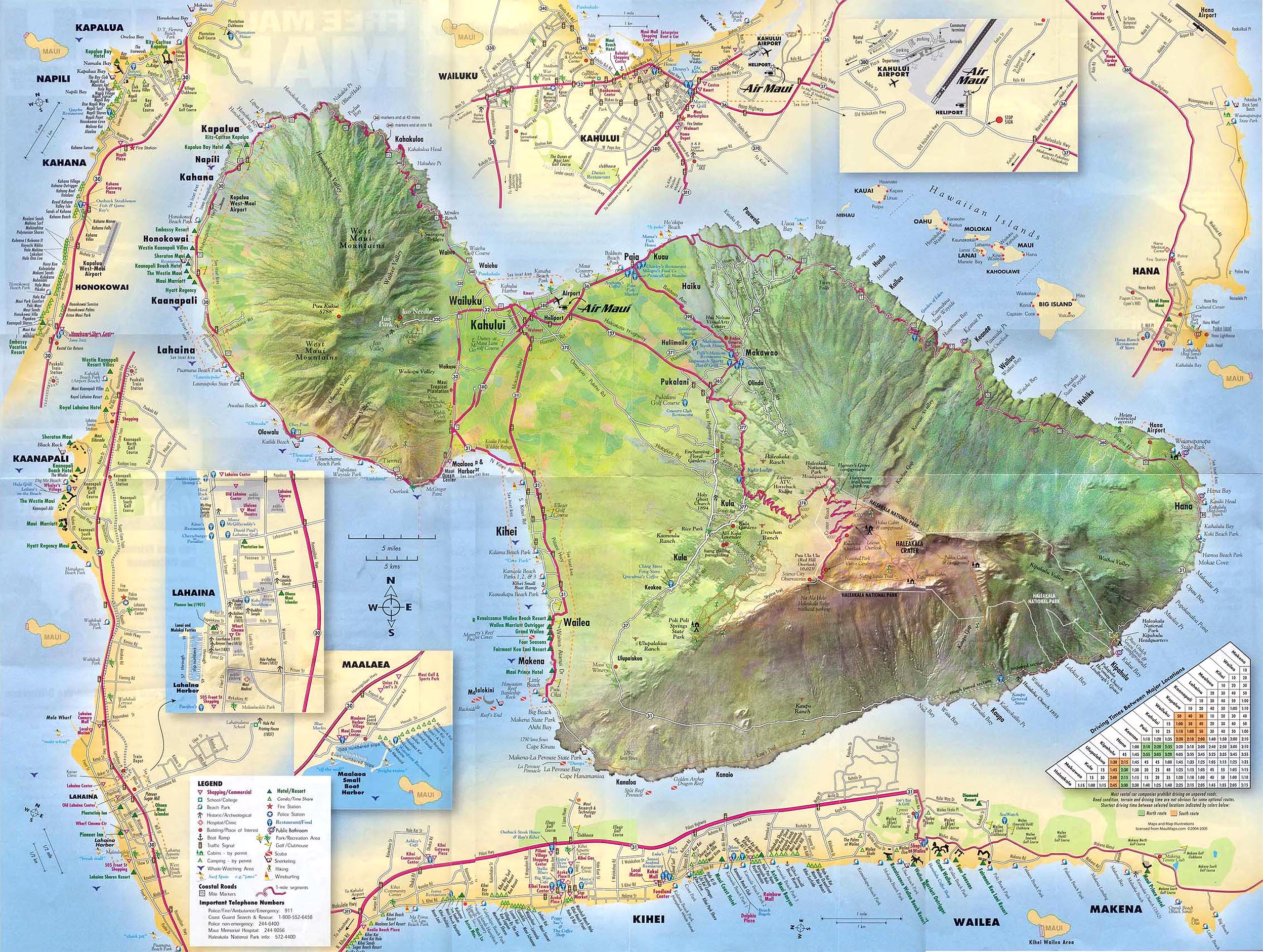 Maiu Detailed Street Map Maui HI mappery – Tourist Map Of Maui