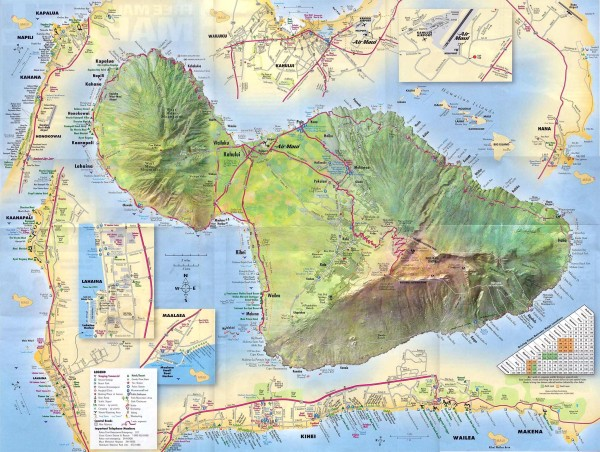 Hawaii Map Maui.Maiu Detailed Street Map Maui Hi Mappery