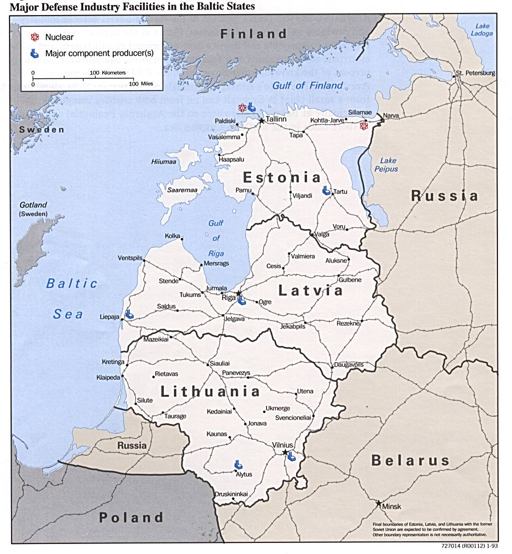 Major defense industries in the baltic states map see map details from