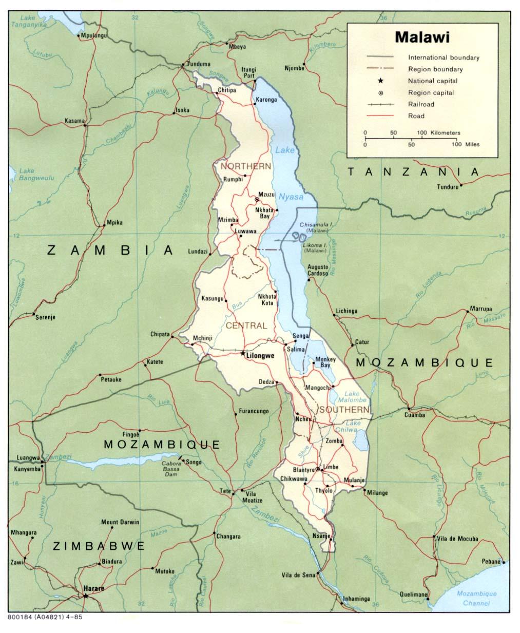 Malawi Map Malawi Africa Mappery - Malawi map