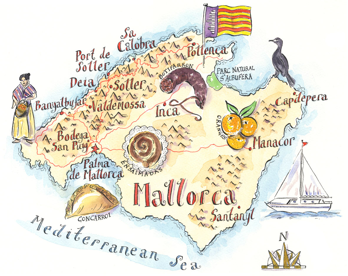 Mallorca Illustrated Map mappery