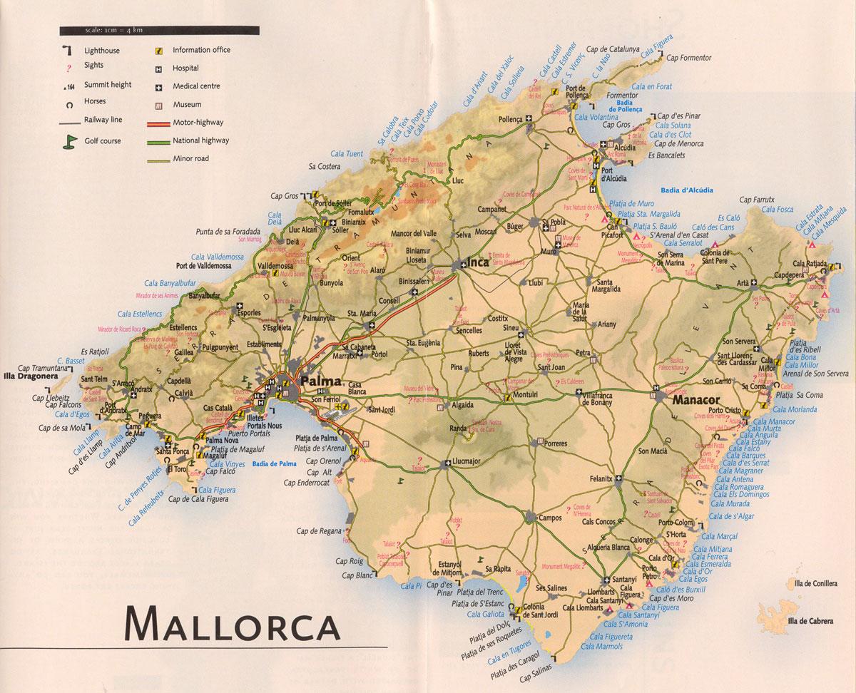 Mallorca Tourist Map Mallorca mappery