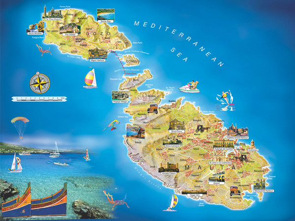 Malta Islands Tourist Map - Malta • mappery