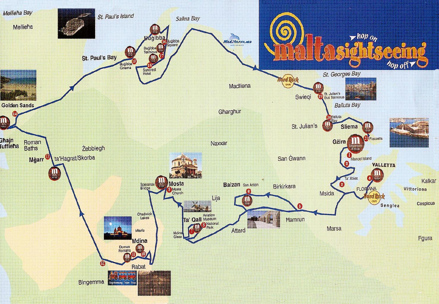 Malta Tourist Map Malta mappery