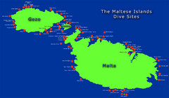 Maltese Islands Dive Sites Map