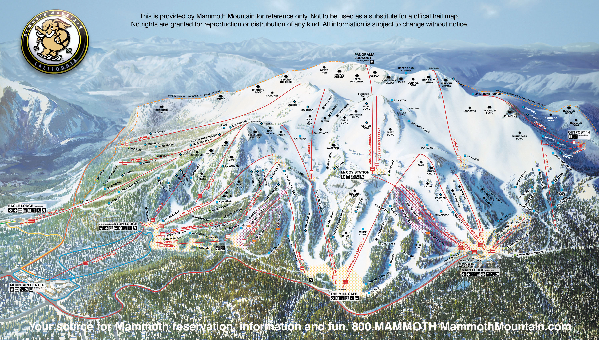 Official ski trail map of Mammoth Mountain ski area from the 2005-2006