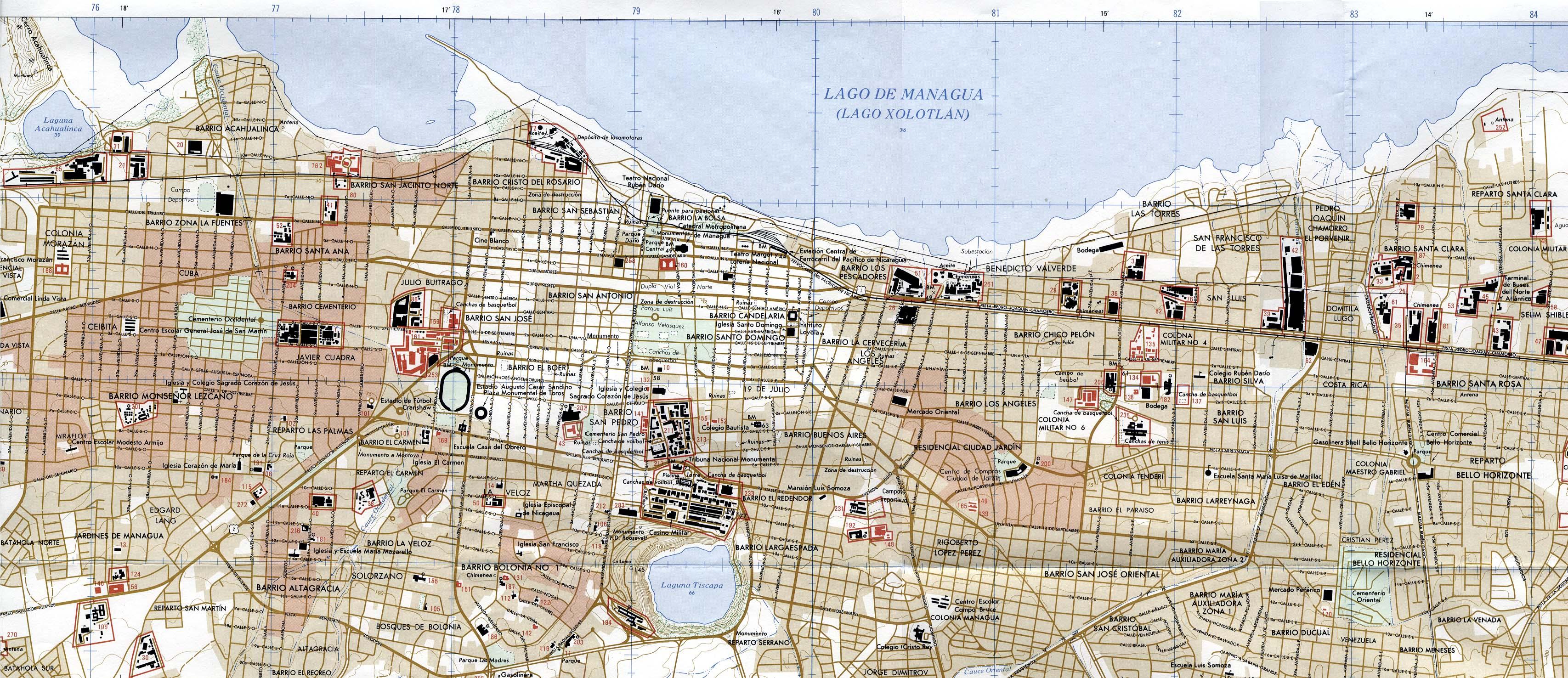 Managua City Map Managua Nicaragua mappery