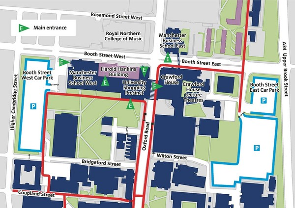 University Of Manchester Campus Map.Manchester Business School Map Manchester England Mappery