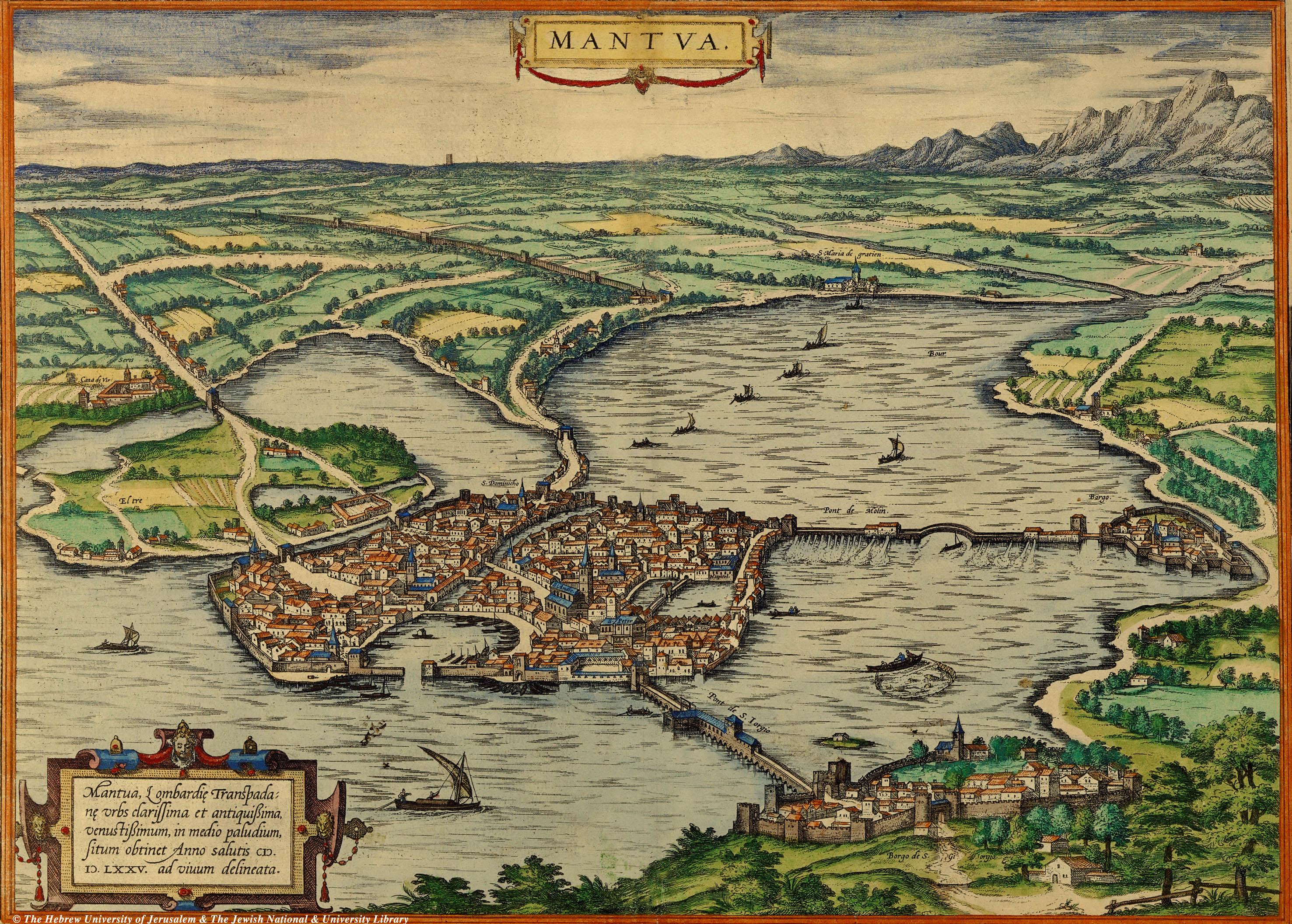 Mantua City Map 1575 Mantova Italy Mappery