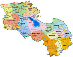 Map of Armenia and Nagorny Karabakh