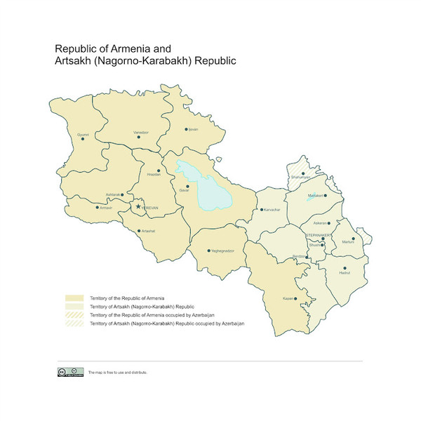 Map of Armenian states - the Republic of Armenia and the Nagorno-Karabakh Republic