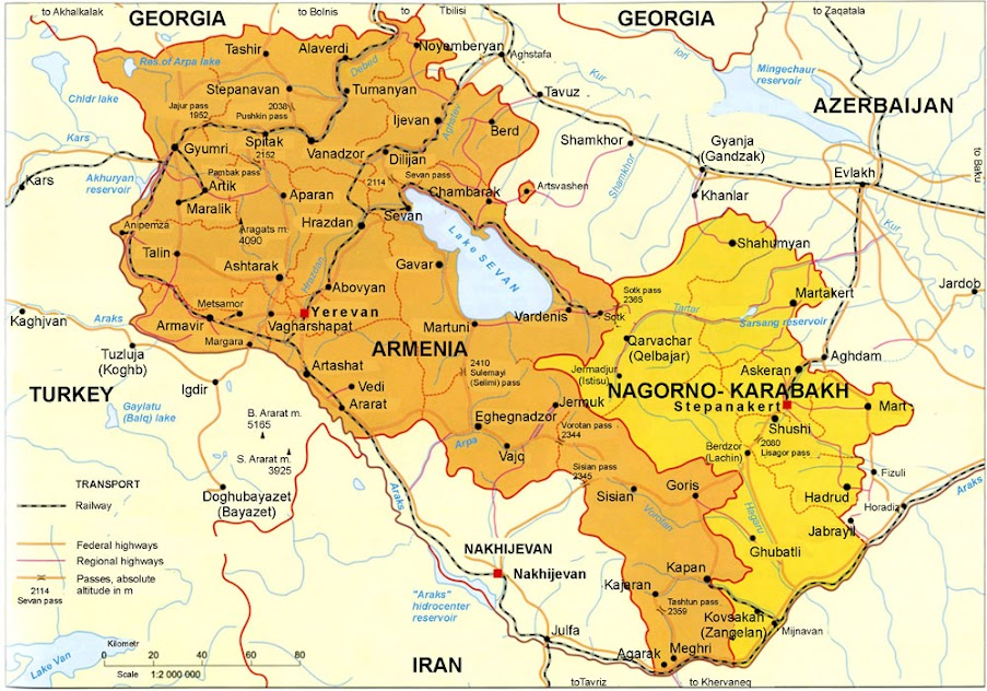 Map of Armenian states Republic of Armenia and NagornoKarabakh