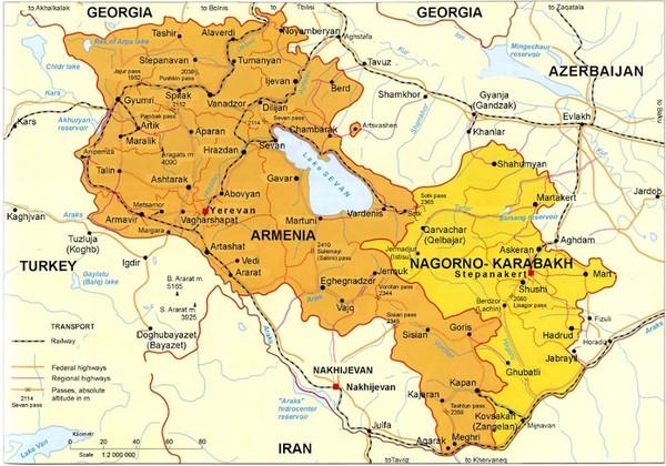 Map of Armenian states - Republic of Armenia and Nagorno-Karabakh ...