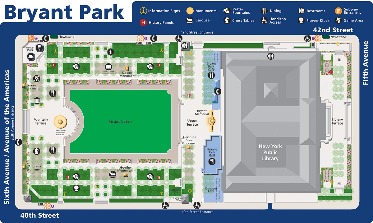 Map Of Bryant Park Manhattan New York Mappery