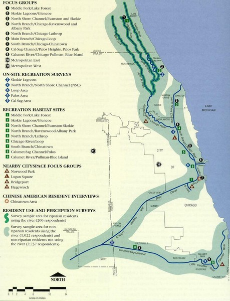 Map of Chicago River with Emphasis on Recreational Use - Chicago ...