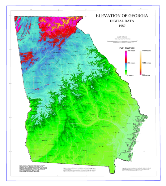Map Of Georgia Elevations Georgia US Mappery - Maps of georgia