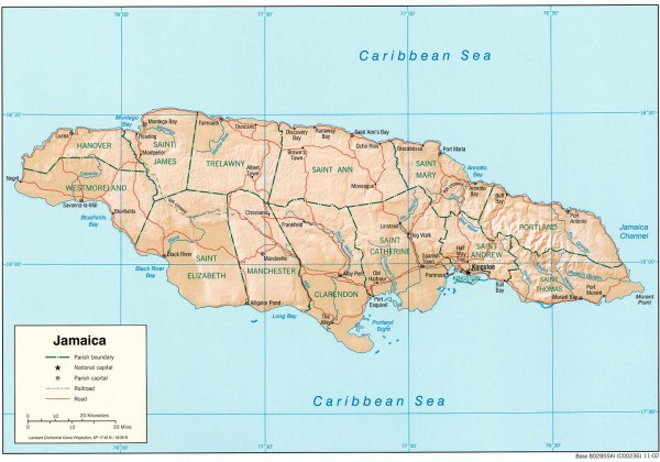 Jamaica Political Map Jamaica Mappery - Jamaica political map 1968