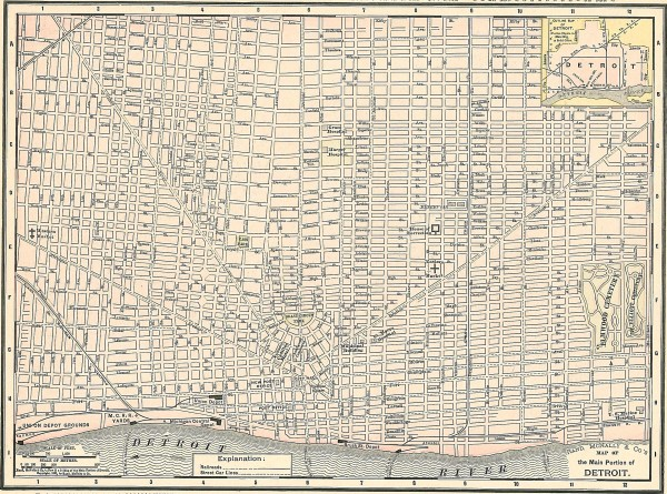 Map of the Main Portion of Detroit - 1895