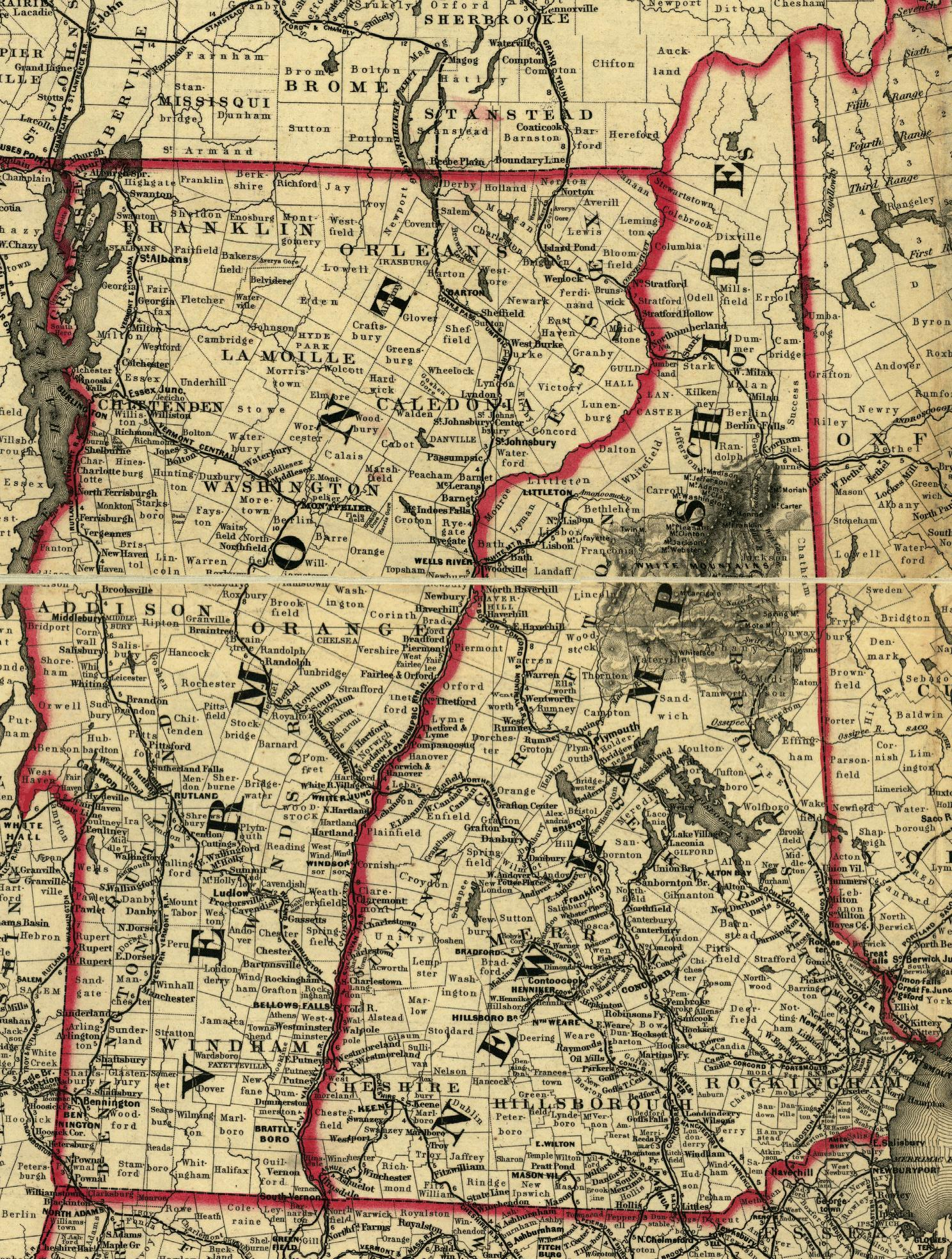 Map Of New Hampshire And Vermont 1860  New Hampshire Amp