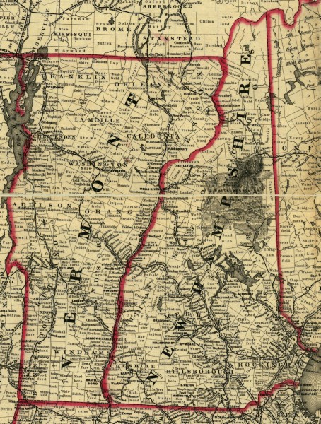 Map of New Hampshire and Vermont 1860