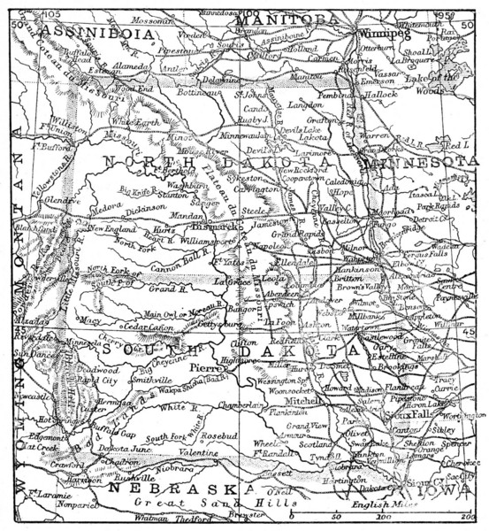 Map of North and South Dakota 1906