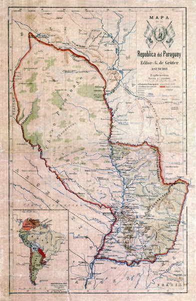 Map of Paraguay before the Chaco War