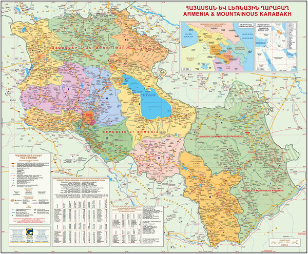 Map of the Republic of Armenia and the Nagorno-Karabakh Republic