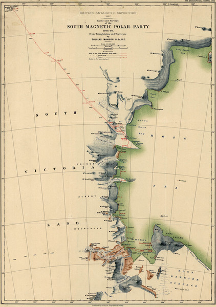 Map of Shackleton's 1907-1909 Antarctic Expedition