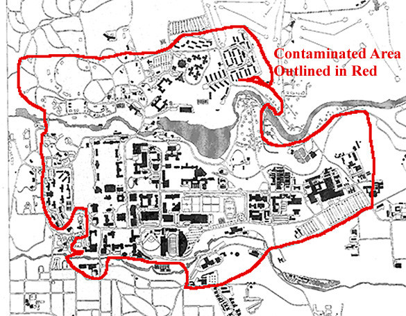 Map of Water contamination at Cornell University in 1997