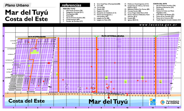 Mar del Tuyú - Costa del Este Tourist Map